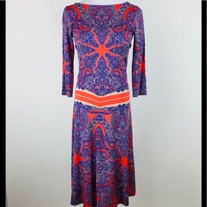 ETRO Paisley Starburst Print Dress Sz 42 US 6